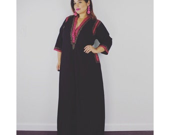 30d6b2f776a6 Vintage MUMU Dress Black Kaftan with Fuschia Trim Pink and Purple Florals