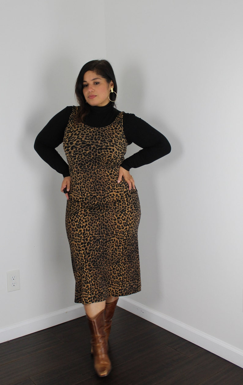 90/'s Animal Print Midi Dress Vintage Leopard Print Sleeveless Dress 90s Grunge