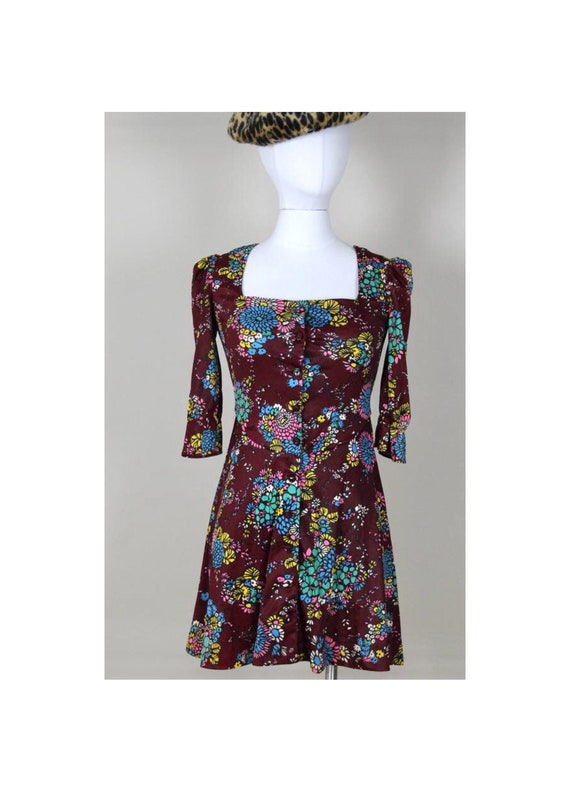 1970s Corky Craig California Floral Mini Dress 70s