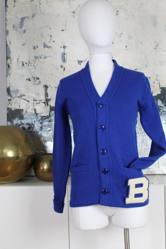 70s Retro Varsity Preppy Cardigan Royal Blue Butto