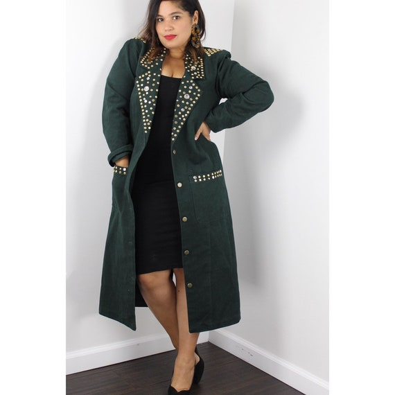 1980's Green Studded Duster Coat Gold Studs Detail