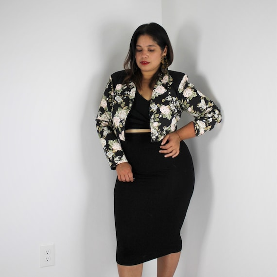 80s Cropped Blazer Jacket Rose Florals Button Up J