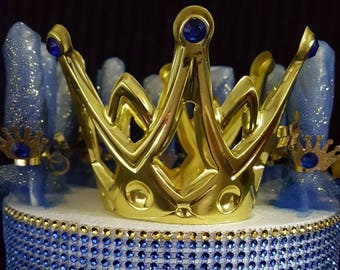 PRINCE PRINCESS CROWNS GOLD SCRATCH MITTEN LOLLIPOPS  BABY SHOWER DIAPER CAKE