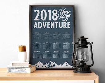 2018 Wall Calendar - A3 printable poster - adventure inspired - blue