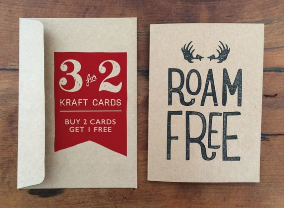 3 for 2 kraft greeting cards buy 2 get 1 free adventure etsy image 0 m4hsunfo