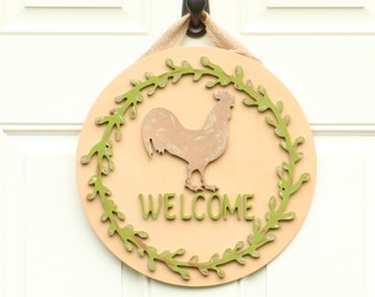 Welcome Rooster Birch Wood Farmhouse Sign , Farmhouse Kitchen Decor , Door Decor - Wall Decor - Farmhouse Decor - Handpainted