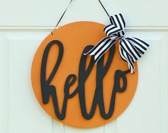 Hello Orange & Black Farmhouse Halloween Sign