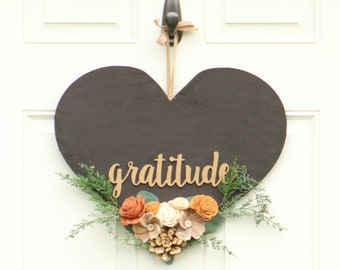 Wood Flowers Farmhouse Wreath - Heart Shaped Wreath