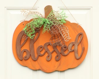 Blessed Pumpkin Door Hanger - Pumpkin Themed Fall Decor