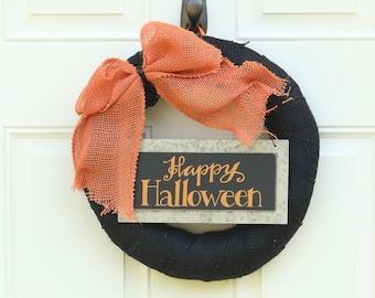 Happy Halloween Orange Black Wreath , Fall Burlap Halloween Door Decoration