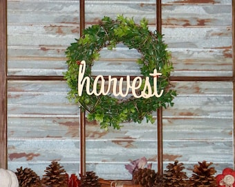 Fall Wreath -Farmhouse Boxwood Wreath with Harvest Sign , Thanksgiving Copper Chicken Wire Wreath