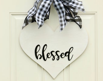 Blessed Heart Shaped Farmhouse Wreath - Blessed Sign