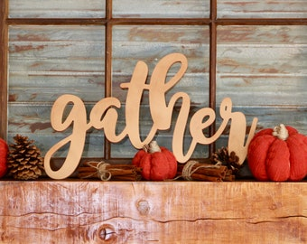Gather - Blessed - Farmhouse Rustic Word Signs, Farmhouse Style Photo Gallery Wood Sign