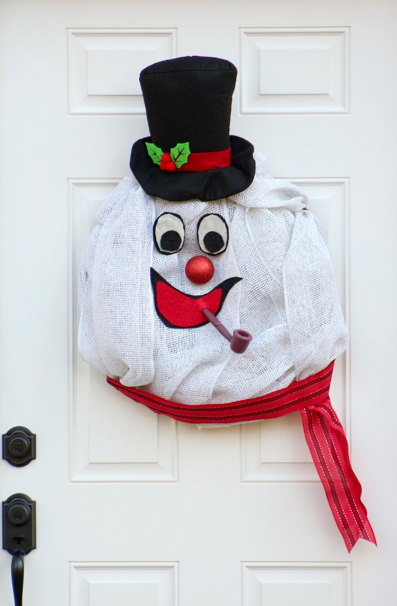 Classic Christmas Frosty the Snowman Wreath Extra Large Winter Wreath Children/'s Holiday Decor Snowman Wreath Indoor Wreath