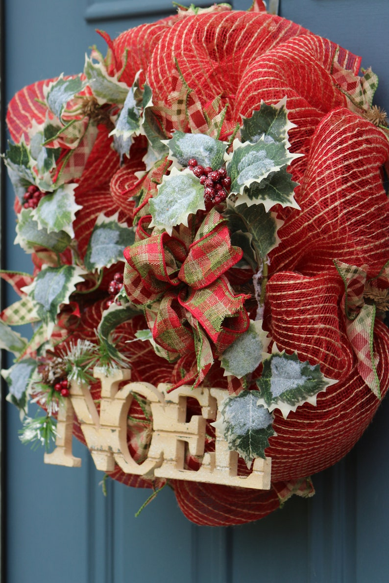 Rustic Holiday Decor Country Christmas Wreath Noel Wreath Holly  Wreath Indoor Wreath Front Door Christmas Wreath Noel Decor
