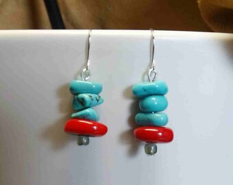 Turquoise and Coral Earrings with Silver