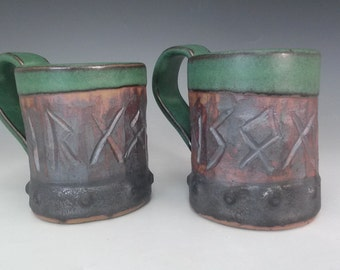 Set of 2 Runic Viking Mugs