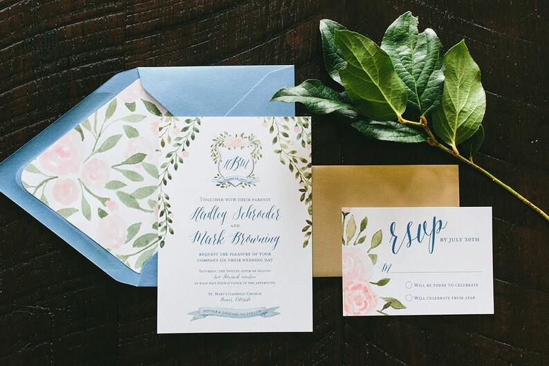 Hadley Watercolor Crest Wedding Invitation Suite image 0