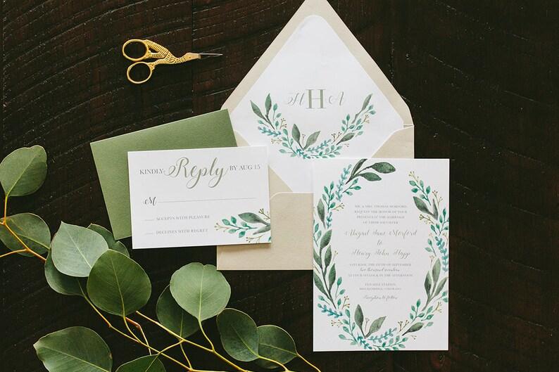 Abigail Leafy Painted Wedding Invitation Suite  Spring image 0