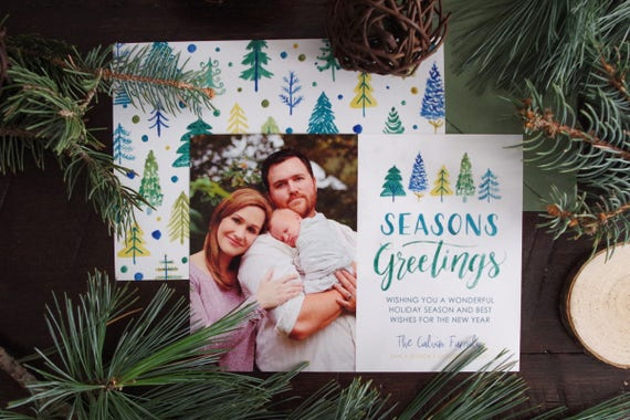 Seasons greetings family holiday card watercolor painted etsy image 0 m4hsunfo