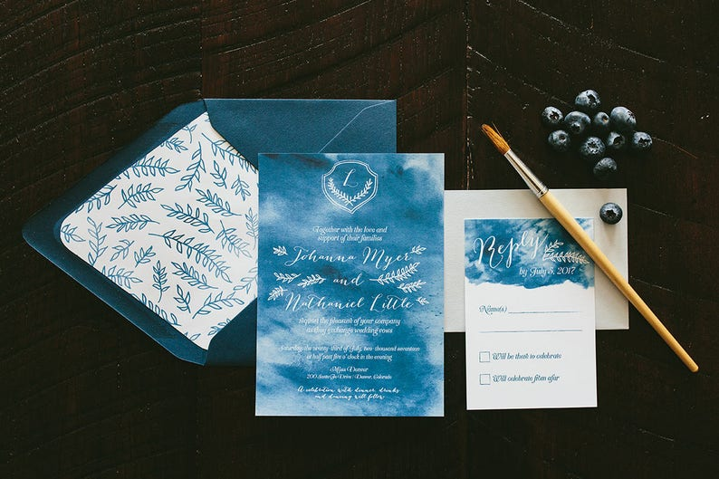 Johanna Watercolor Wedding Invitation Suite  Sapphire Blue image 0