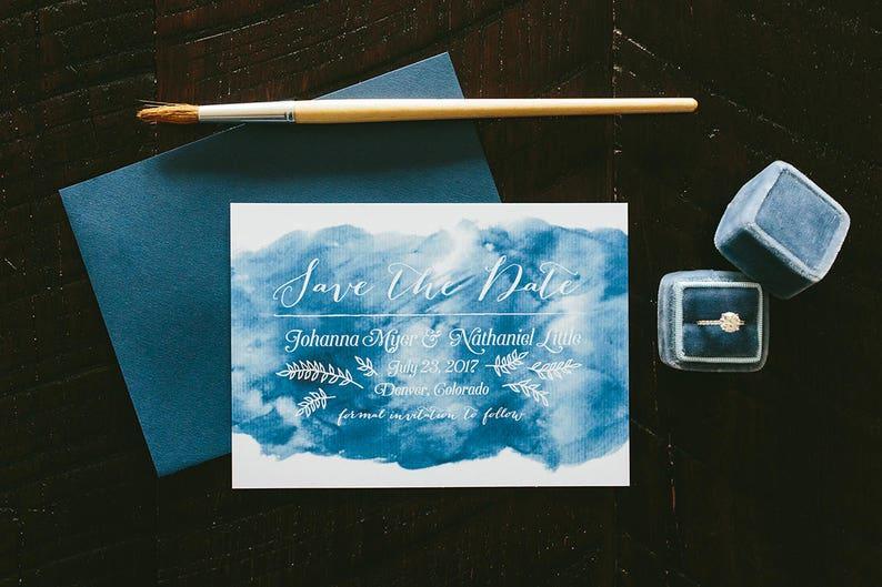 Johanna Watercolor Wash Wedding Save the Date  Sapphire Blue image 0