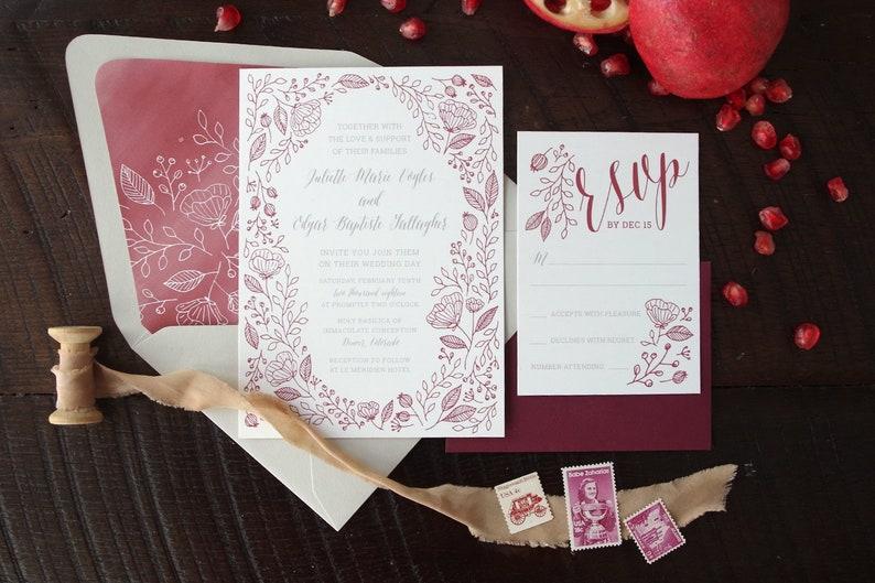 Juliette Delicate Botanical Pattern Wedding Invitation Suite  image 0