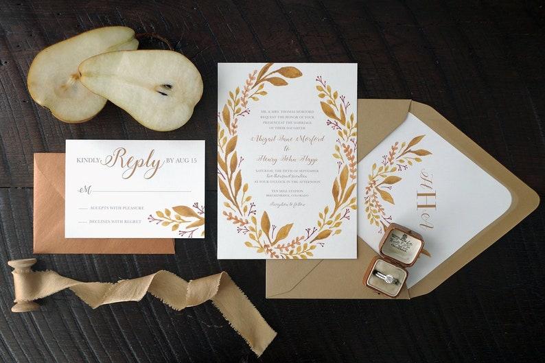 Abigail Leafy Painted Wedding Invitation Suite  Fall image 0
