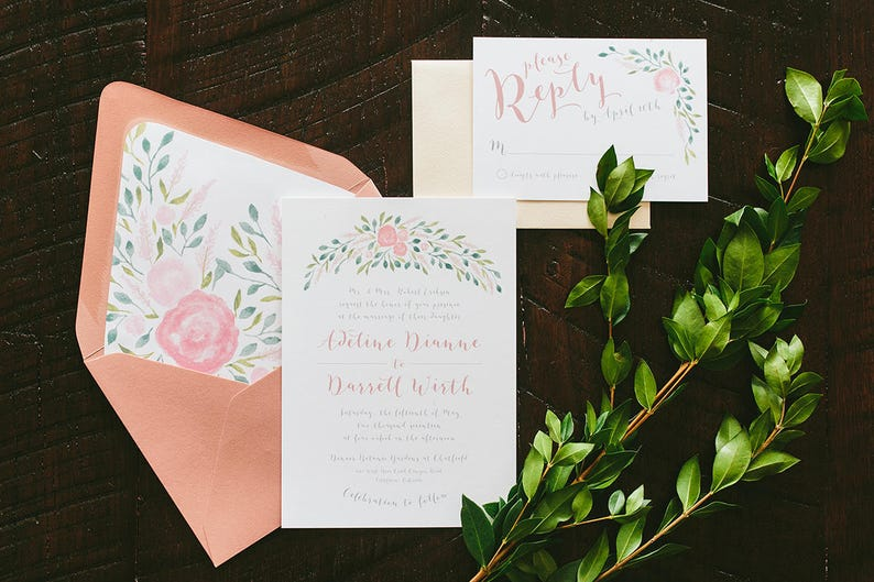 Adeline Painted Florals Wedding Invitations  Rose Pink image 0