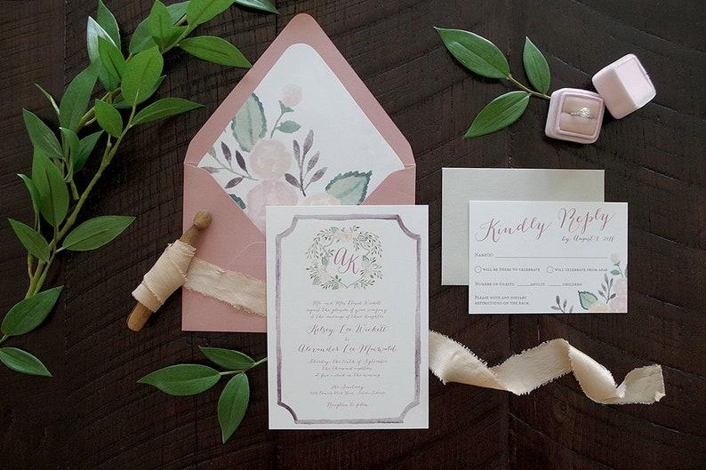 Kelsey Monogram Watercolor Crest Wedding Invitation Suite image 0