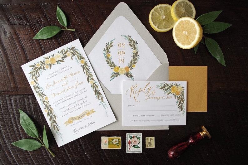 Lisa Painted Floral Garland Wedding Invitation Suite  Mustard image 0