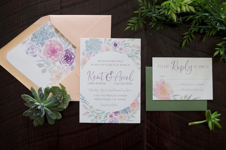 Kent Painted Florals & Succulents Wedding Invitation Suite image 0
