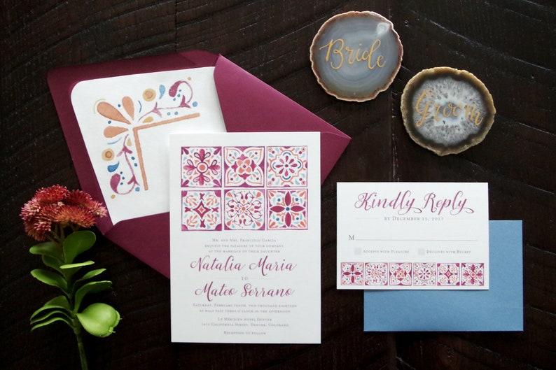 Natalia Painted Spanish Tiles Wedding Invitation Suite  image 0