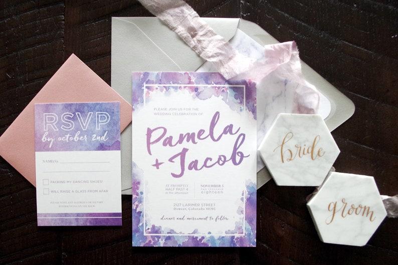 Pamela Lavender/ Ultra Violet Watercolor Wedding Invitation image 0