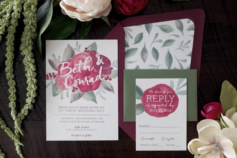 Beth Painted Florals Wedding Invitation Suite image 0