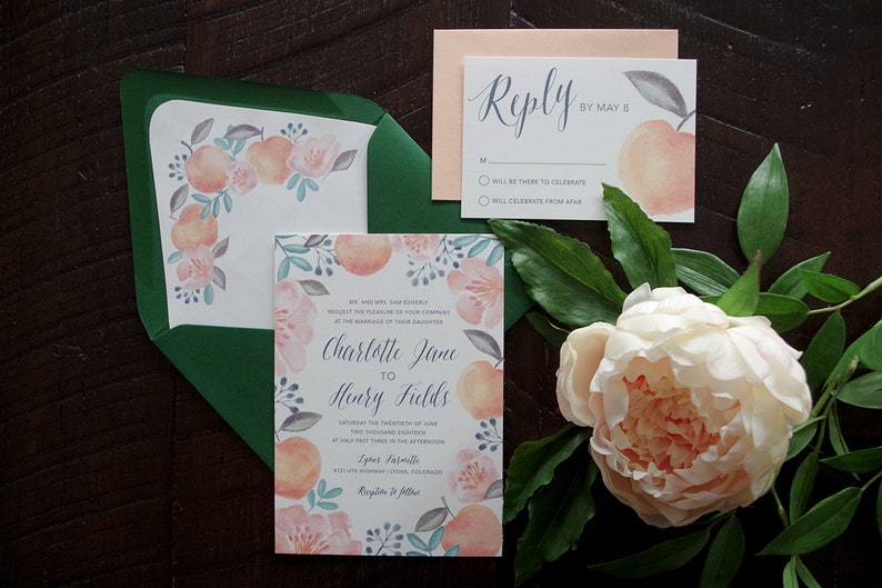 Charlotte Peach Colorful Painted Wedding Invitation Suite image 0