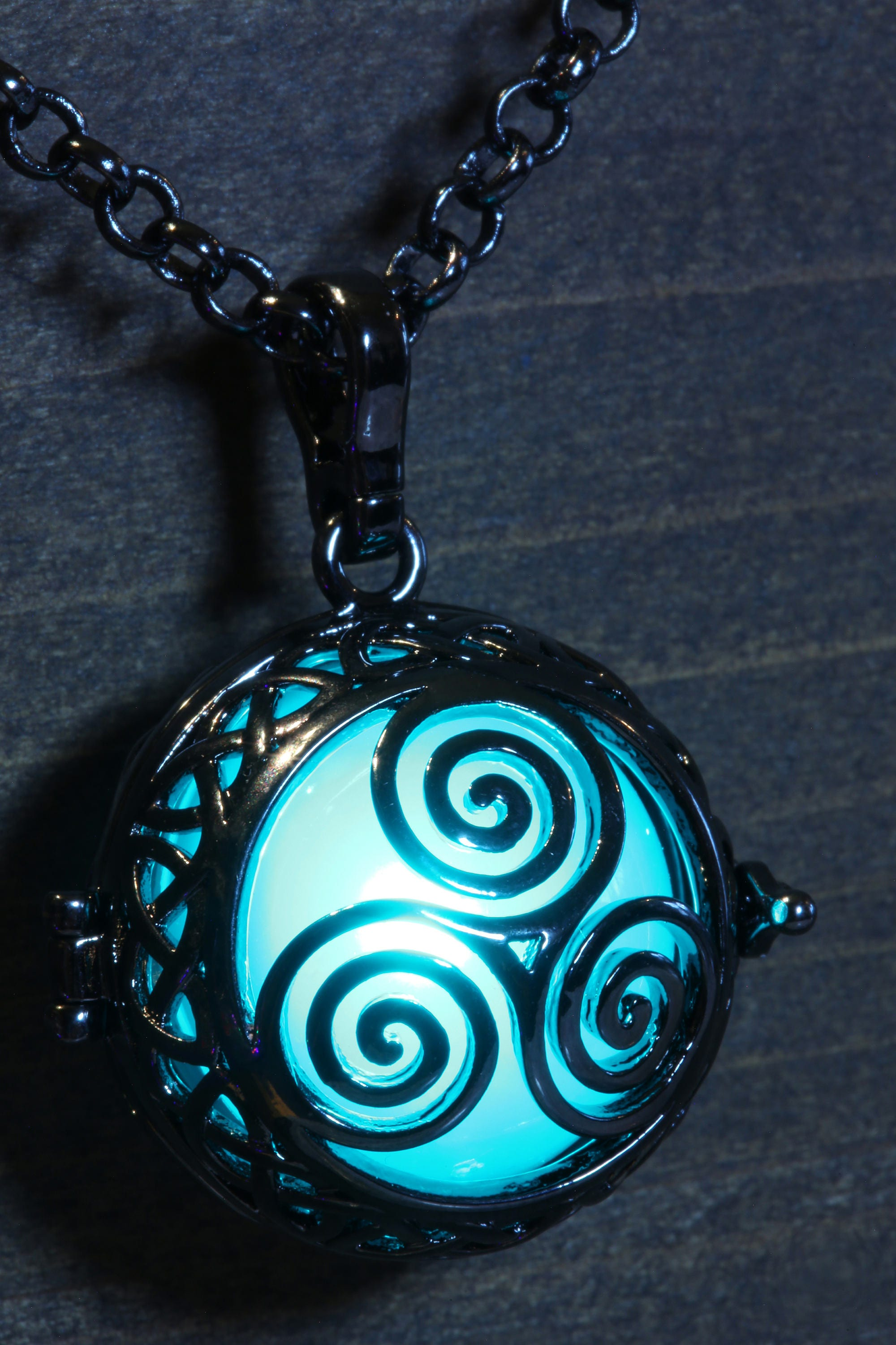 Triskelion Glowing Pendant Necklace Pick Your Color Celtic