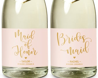 Mini Champagne Bottle Labels for Maid of Honor and Bridesmaids, Will You Be My Bridesmaid & Will You Be My Matron of Honor Mini Wine labels