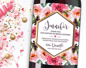 wine label hostess gift floral thank you champagne label personalized bridal shower hostess gift baby shower hostess gift thank you wine