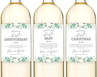 Milestone Wine Labels, Wedding Milestone Wine Labels, Bridal Shower Gift, Greenery Wedding Wine Labels, Marriage Milestone Wine Poems