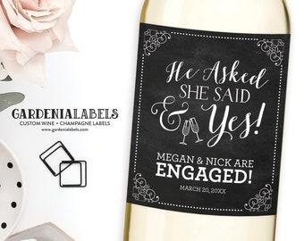 He Asked She Said Yes Engagement Wine Label, Newly Engaged Gift, Custom Wedding Wine Labels, Engagement Party or Engagement Gift Champagne