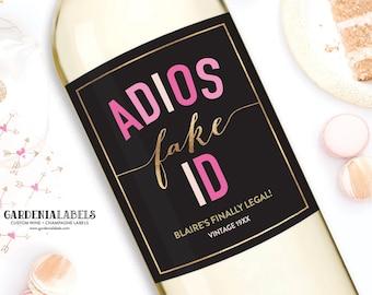 21st Birthday Wine Label, Twenty One and Legal Birthday Girl Wine Label, 21st Birthday Party Decor, Custom 21st Birthday Champagne Label