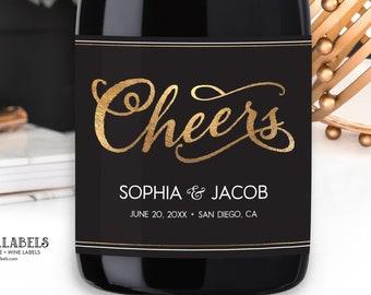 Engagement Champagne Label, Wedding Wine Label, Cheers Champagne Label, Bridal Shower Champagne Label, Engagement Gift, Anniversary Wine