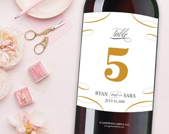 Table Number Wine Labels, Wedding Wine Table Numbers, Wedding Table Decorations, Wedding Table Numbers, Table Number Card, Wine Bottle Label