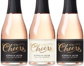 Mini Champagne Labels for Wedding Favors, Engagement Party Favors, Bridal Shower Favors, Wedding Sticker Mini Wine Label, Cheers Wine label