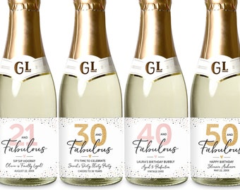 40 and Fabulous Mini Wine Labels, Birthday Mini Champagne Labels, 30th 40th 50th 60th Birthday Miniature Wine Labels, Birthday Party Favors