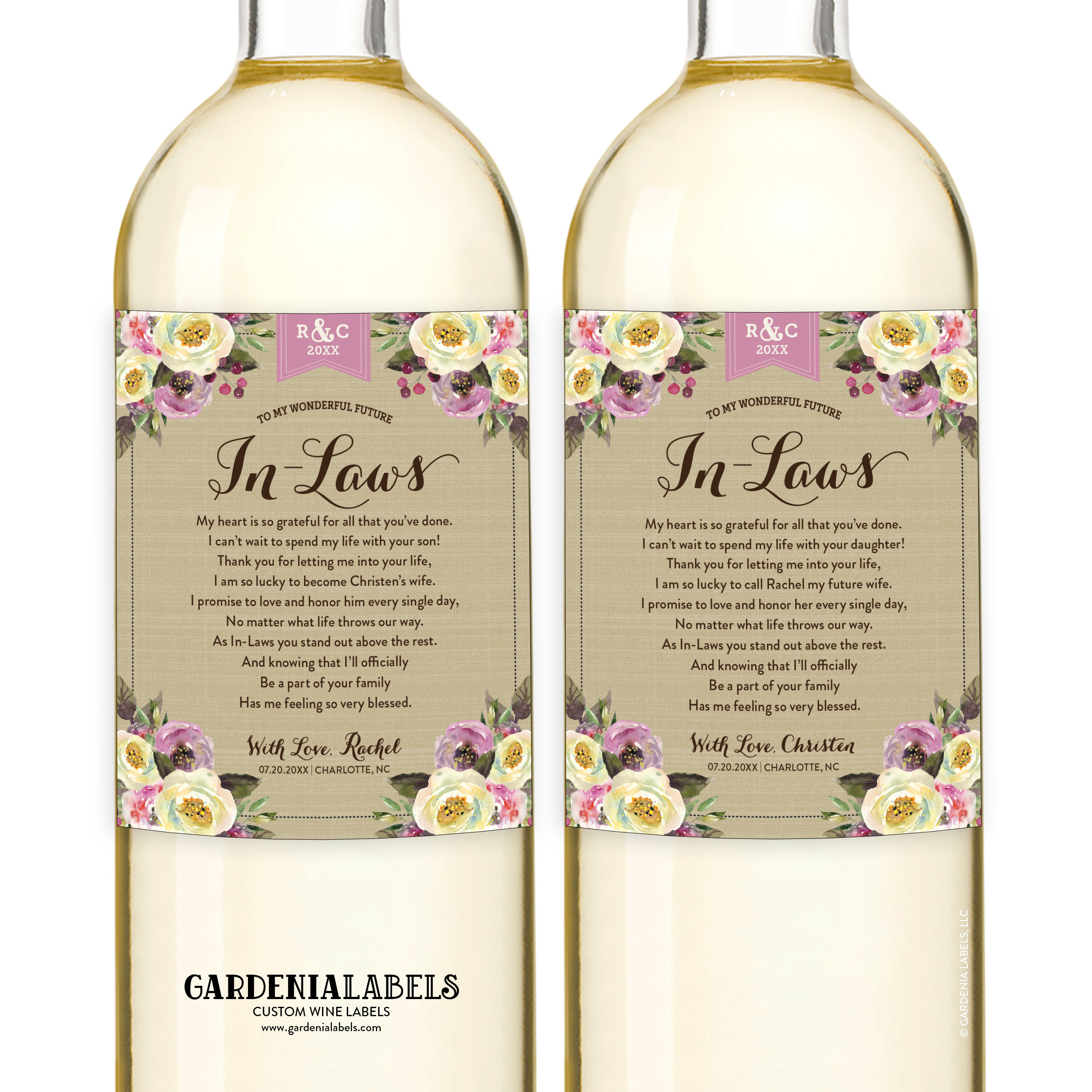 Wine For Wedding Gift: In-Law Wine Labels Wedding Gift For Parents Of The Bride
