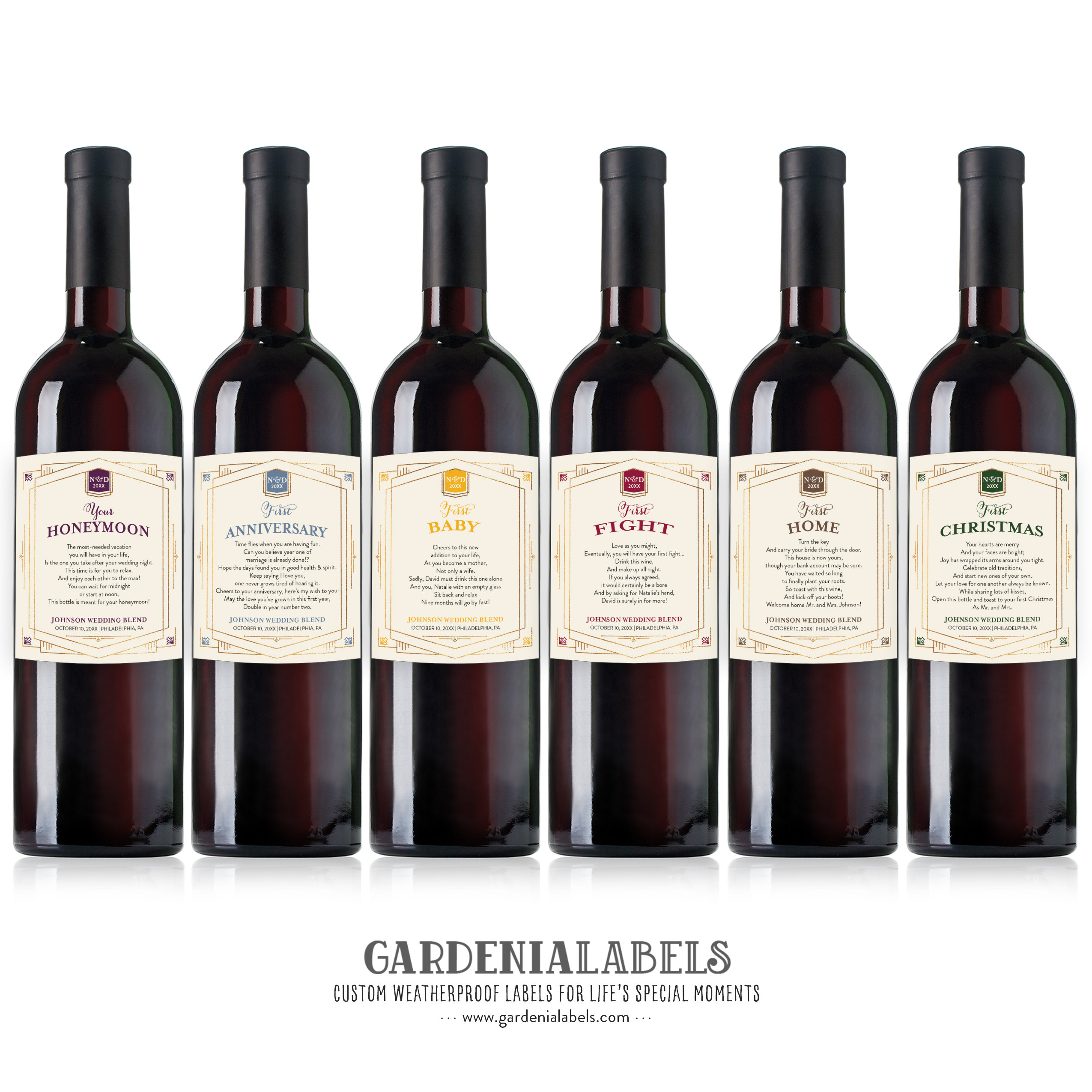Wedding Gift Wine Basket: Marriage Milestone Wine Labels Bridal Shower Wine Basket