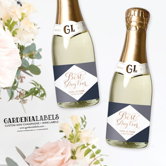 Wedding Favor Mini Champagne Labels Best Day Ever Mini Wine Etsy