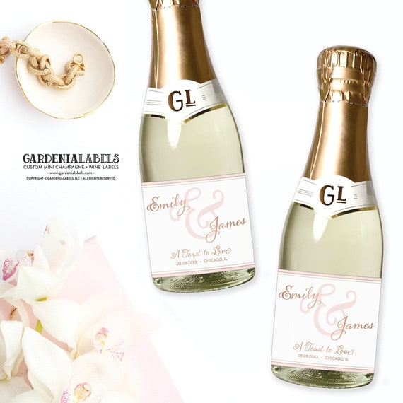Mini Champagne Labels For Wedding Favors Engagement Party Etsy